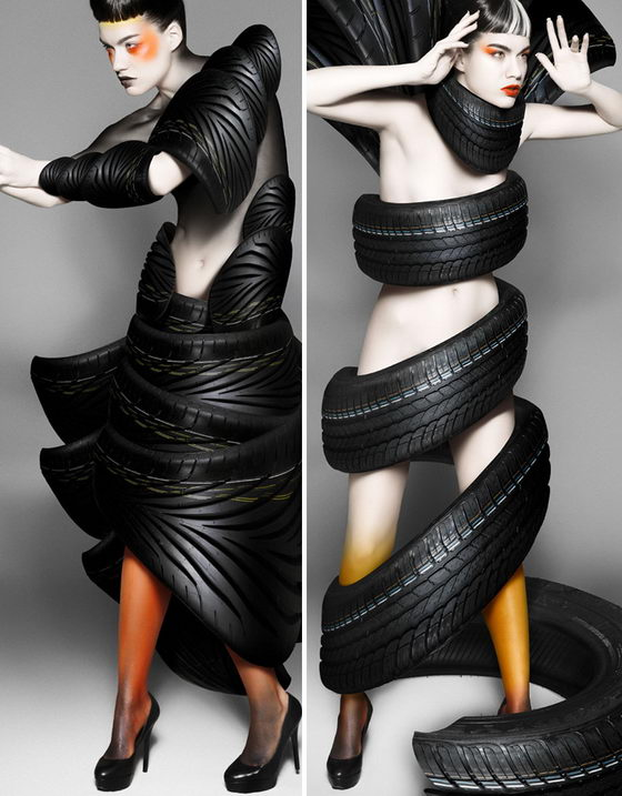 Creative Treadwear:Turn Car Tire into Fashion