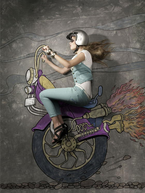 Visual Confusion Photography: Models Placed on Chalk Art