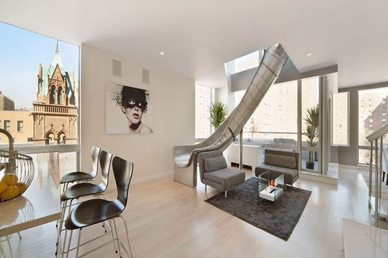 Playful Spiral slide penthouse in New York
