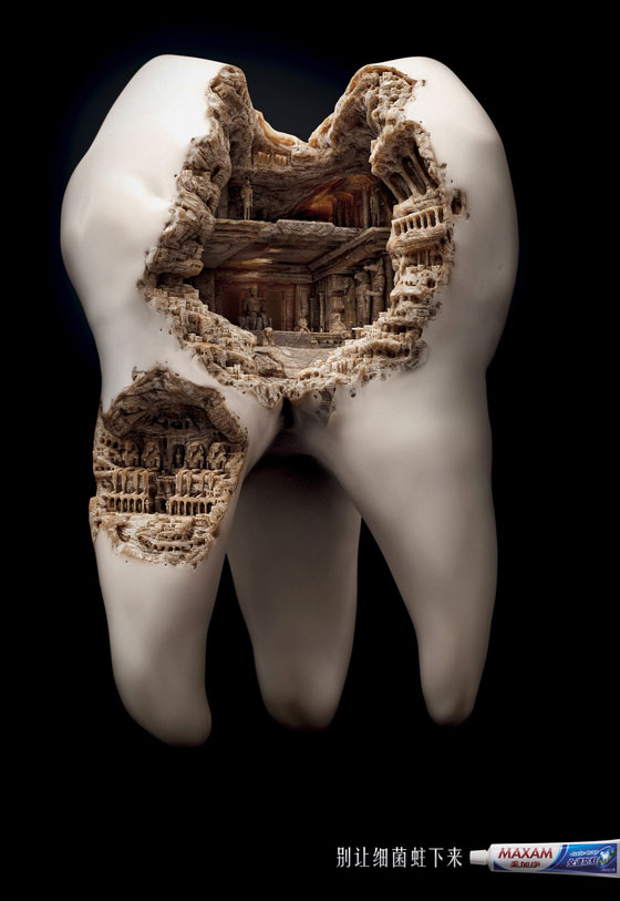 Unusual Toothpaste Ads Campaign: Giant Tooth with Ancient Ruins