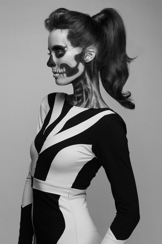 She Has Waited Too Long: Skeleton Makeup Girl by Pauline Darley