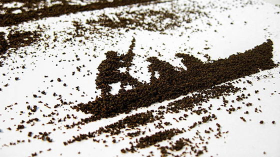 Beautiful Illustration Created by Utilizing Tea Leave