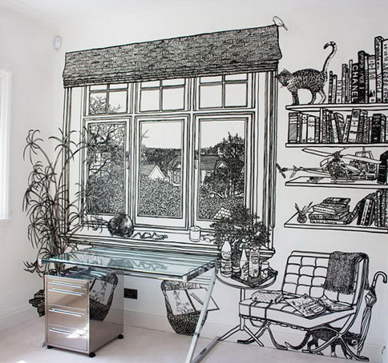 Incredibly Intricate Wall Drawings by Charlotte Mann
