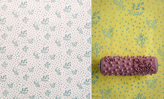 Patterned paint rollers create classic wallpaper via painting