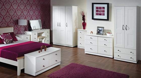 16 beautiful and elegant white bedroom furniture ideas for Headboard and dresser