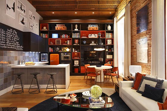 Colorful Loft Styled with Whimsical 70′s Ambiance