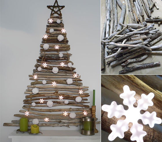 16 creative unconventional christmas tree ideas - Christmas Tree Branch Decorations