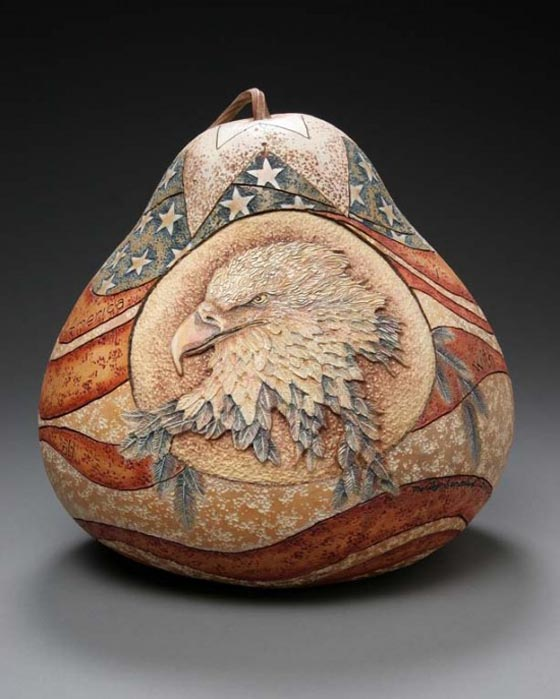 Amazing gourd carving art by marilyn sunderland design swan