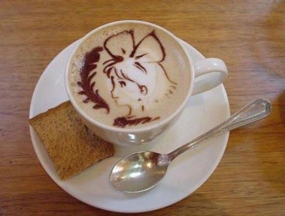 Creative Anime Coffee Swirl Art