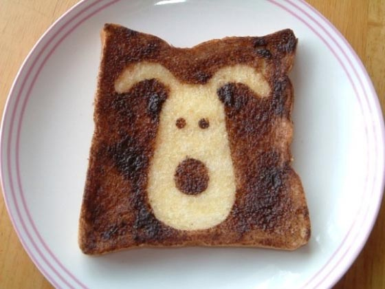 Toast Art: Cute Cartoon Character on Toast