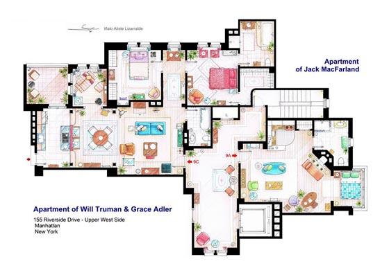 Interesting Detailed Floor Plans of Famous TV Shows by Iñaki Aliste Lizarralde