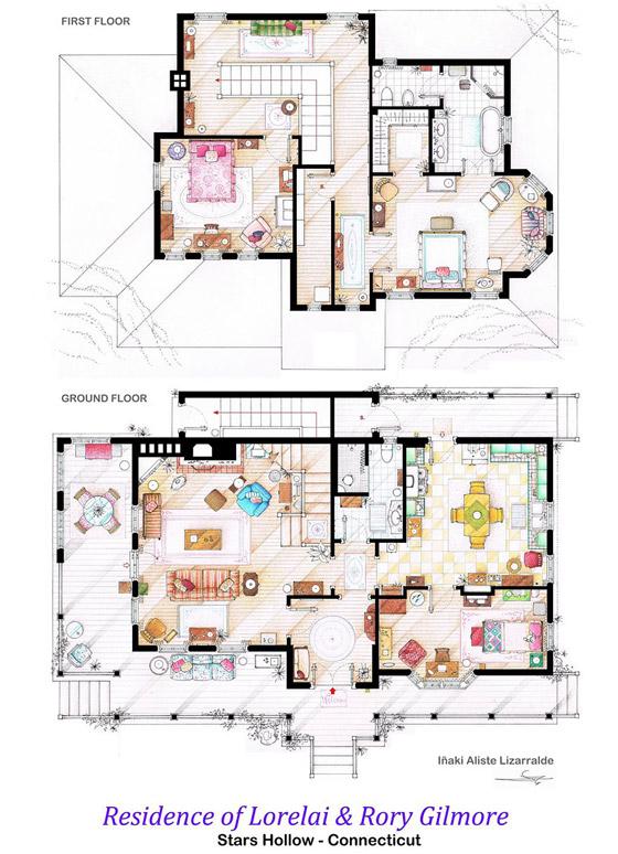 Interesting Detailed Floor Plans of Famous TV Shows by Iaki Aliste  Lizarralde