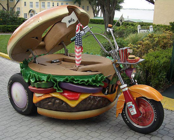 Hamburger Motorcycle: a Hamburger-Shaped Harley Davidson