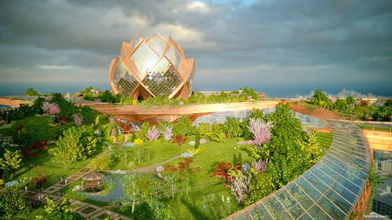 City in the Sky: a Futuristic Lotus-Shaped Oasis Tower