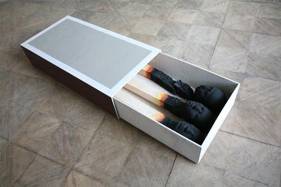 Matchstickmen: Unusual Giant Burnt Matches With Creepy Human Heads