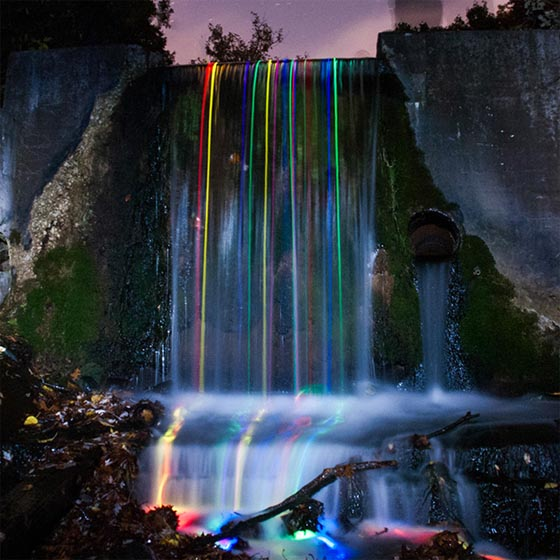 Neon Luminance: Long-Exposure Neon Waterfall by Sean Lenz and Kristoffer Abildgaard