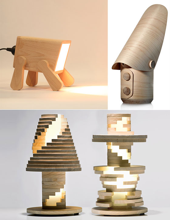 Split Grain: Wooden Lamps and Sculptures [ source ]