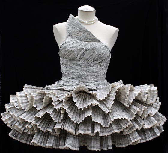 Paper Dress: Wearable Dress Made out of Phonebook