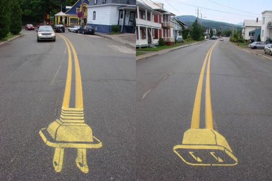 Creative Street Art by Roadsworth: a Poet of Roads