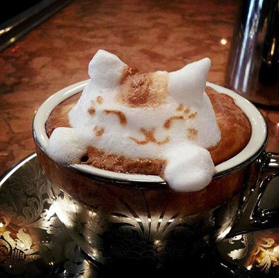 3D Latte Art: Foamy Milk Sculptures by Kazuki Yamamoto