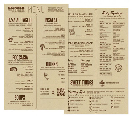 25 inspiring restaurant menu designs design swan for Table table restaurant menu