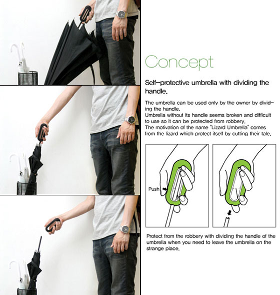 Lizard Umbrella: an Umbrella Designed to Prevent Theft