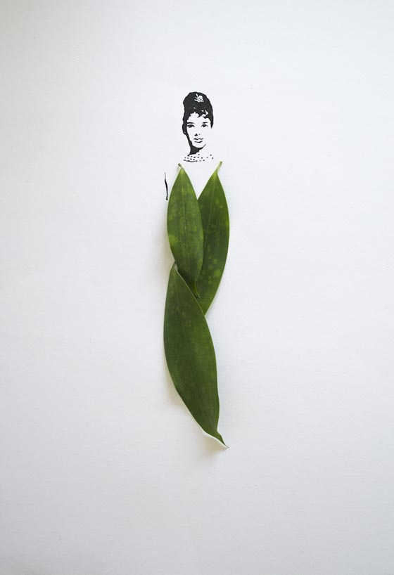 Fashion in Leaves: Clever Fashion Illustration Using Leaves as Dresses