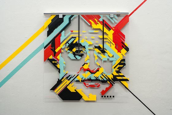 Top of the Line: Colorful Tape Strips Portrait by No Curves