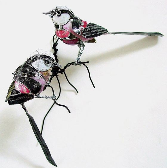 Amazing Bird Sculptures Made from Recycled Objects by Barbara Franc