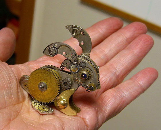 Miniature Animal Steampunk Sculptures Made from Broken Watch Parts