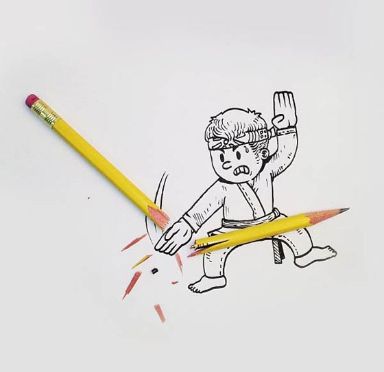 Funny And Creative Interactive Illustration By Alex Solis Design - Creative comical paper drawings