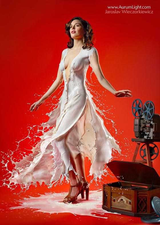 Milky PinUps: Retro Pinup Photos of Model Wearing Milk Dress