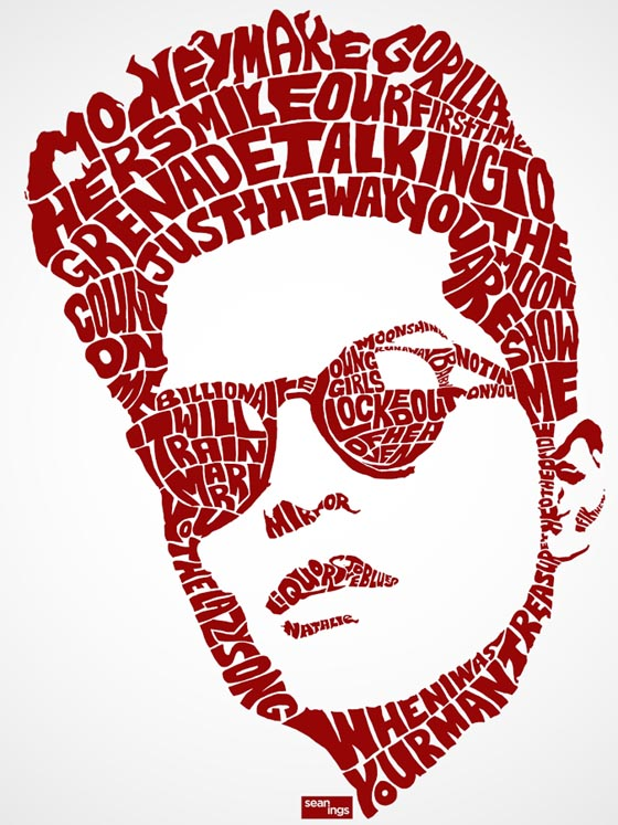 Hip Hop Type: Pop Star Typography Portraits Created with Their Song Lyrics