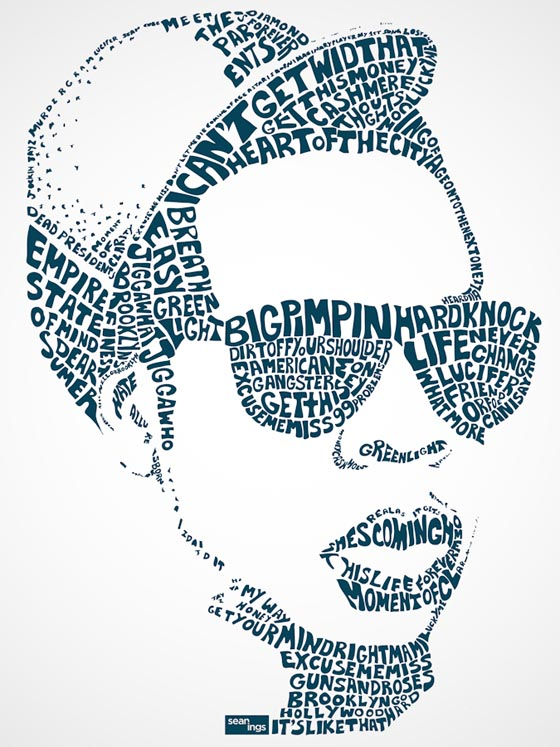 Hip hop type pop star typography portraits created with Typography portrait