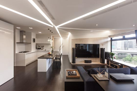 Modern Apartment with Unusual Lighting Setup in Taiwan