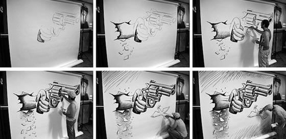 Optical intrusion: Interactive 3D Pencil Art by Ben Heine