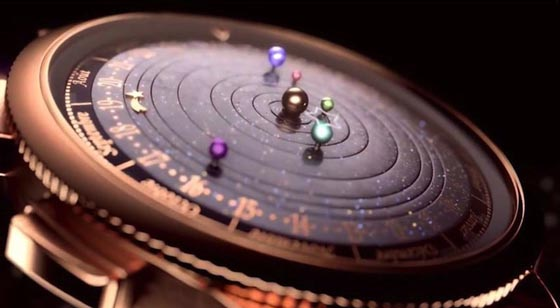 Gorgeous Astronomical Watch Displaying Six Planets Closest to The Sun