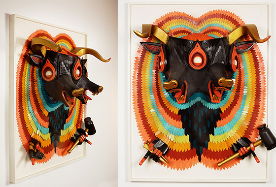Colorful 3D Wooden Sculptures Jump Off the Frame