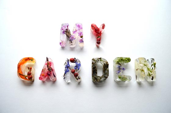 Floral Typographic Ice Cubes by Petra Blahova