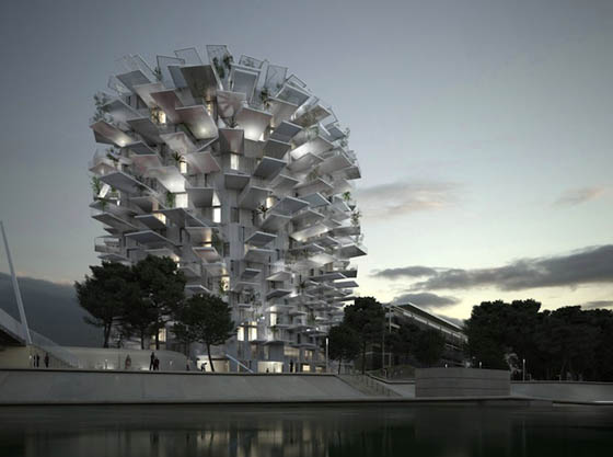 White tree: Unusual High-Rise Tower in Shape of Tree Branches