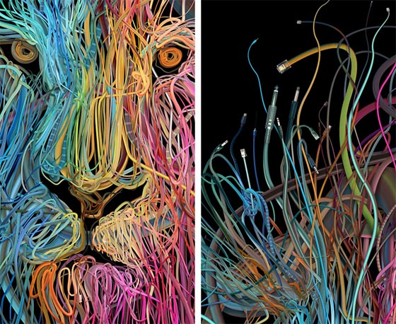 Intricate Mosaic Illustrations Formed of Colorful Wires by Charis Tsevis