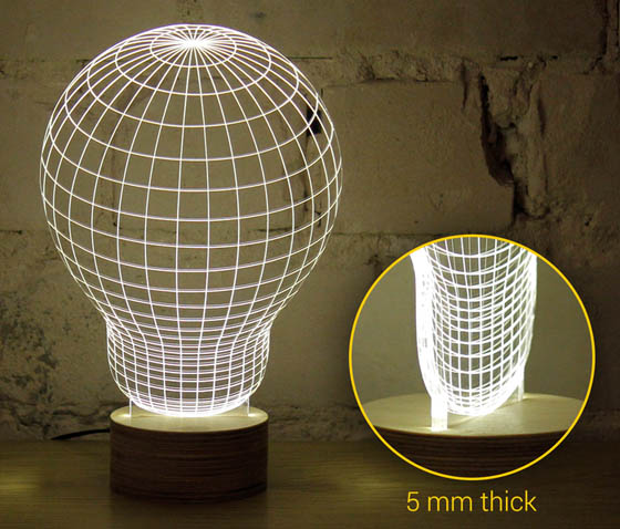 Bulbing: Optical Illusion 2D LED Lamp Looks Like 3D