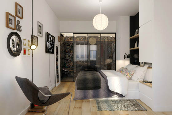 Chic Apartment Emphasizes a Bold Contrast Between Black and White