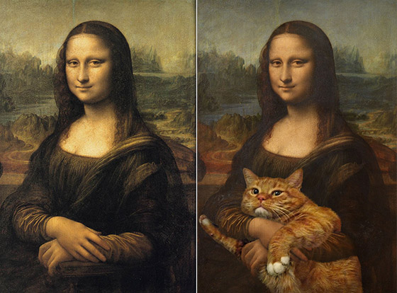 Fat Cat Art: Russian Artist Add Her Fat Cat to Iconic Paintings