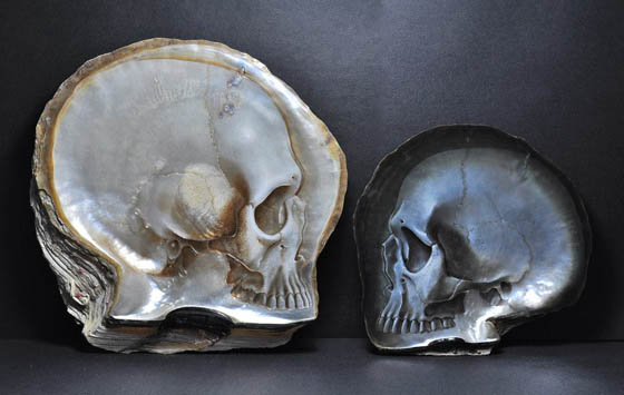 Skull Shell: Skull Carvings and Painted on Mother of Pearl Shells