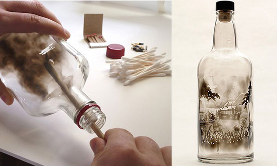 Landscape Created Inside Bottle with Smoke