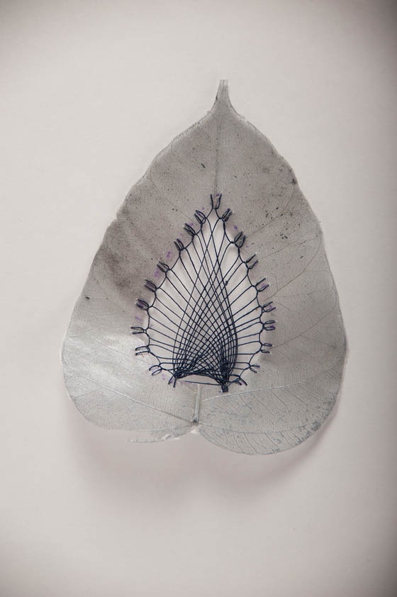 Unusual Stitched Leaves Art