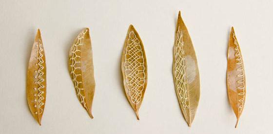 Unusual Stitched Leaves Art