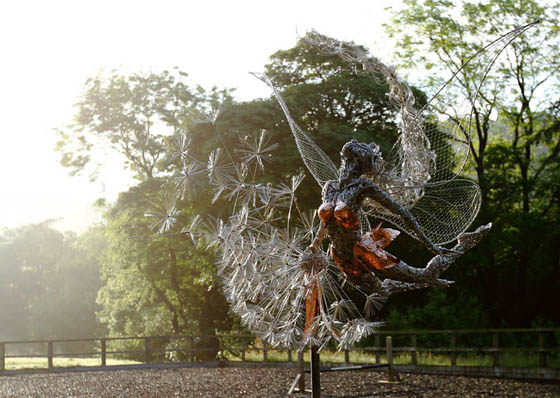 Ethereal Stainless Steel Wire Fairy Sculptures by Robin Wight