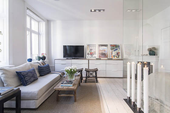 Small Scandinavian Apartment with A Glass-Walled Bedroom